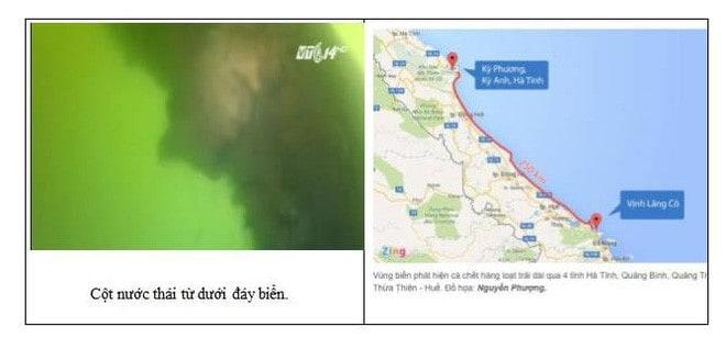 Cột nước thải và sơ đồ vùng biển nhiễm độc